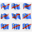 Set of Congo Democratic Republic flags in the air vector image