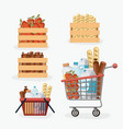 supermarket colorful set with shelf and baskets vector image