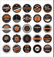 vintage labels black and orange set vector image vector image
