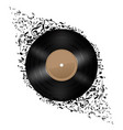 vinyl disc with music notes flying out on white vector image vector image