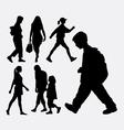 Walking people silhouette vector image