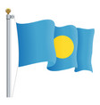 waving palau flag isolated on a white background vector image vector image