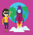 woman in vr headset flying in open space vector image vector image