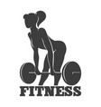 woman lifting weight fitness logo or emblem vector image vector image