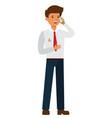 businessman talking on mobile phone cartoon flat vector image