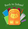back to school orange bag on green background vector image