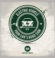 alternative electric vehicle stamp vector image vector image