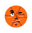 basketball winking emoji ball happy emotion vector image vector image
