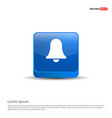 bell icon - 3d blue button vector image vector image