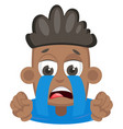 boy is crying on white background vector image vector image