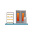 bread baking in the oven stage of bread vector image vector image