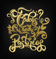 cakes and pastries lettering inscription vector image vector image