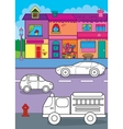 Coloring Book Of Cars On City Street vector image