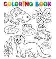 coloring book river fauna image 1 vector image