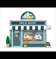 dairy store or milk shop with signboard awning vector image vector image