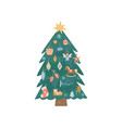 decorated vintage christmas tree with colorful vector image vector image