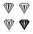 diamond crystal set black vector image