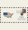 Envelope with map of america in colors of flag