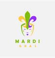 fun jester with fleur de lis hat logo icon vector image
