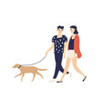 funny romantic couple walking dog on leash vector image vector image