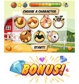 Game template with farm animal characters vector image vector image