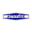 grunge blue attitude word hexagon rubber seal