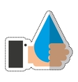 hand human with water drop isolated icon vector image