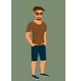 Hipster guy wearing stylish haircut vector image vector image