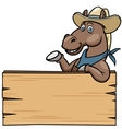 Horse with wooden sign vector image