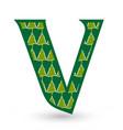 letter v christmas festive font icon vector image