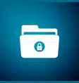 locked folder icon isolated on blue background vector image vector image