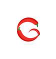 logo red chili pepper letter g vector image