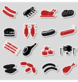 meat food color stickers and symbols set eps10 vector image vector image