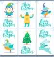 merry christmas cards titles vector image vector image