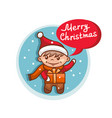 merry christmas flat icon with santa claus helper vector image vector image