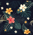 night tropical pattern seamless black background vector image vector image