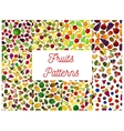 Patterns set of fresh ripe fruits and berries vector image vector image