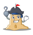 pirate sandcastle character cartoon style vector image