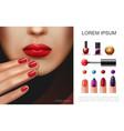 realistic nail polish concept vector image