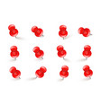 realistic red push pins board tacks isolated on vector image