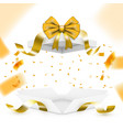 realistic surprise gift box with golden falling vector image vector image