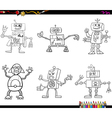 robot characters coloring page vector image vector image