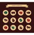 set flat design icons with farm animals vector image