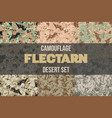 set of desert flectarn camouflage seamless pattern vector image vector image