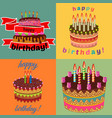 set of four sweet birthday cakes vector image