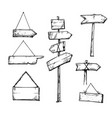 set of wooden arrow signs hand drawn vector image vector image