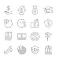 Simple set money related line icons