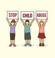 stop child abuse children with sign board vector image