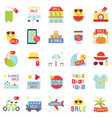 summer sale element icon set 4 flat style vector image vector image