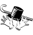 Top hat cane gloves vector image vector image